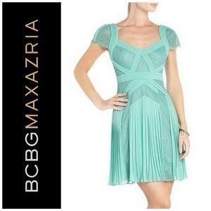 BCBGMAXAZRIA Aris Pleated Lace Cocktail Dress